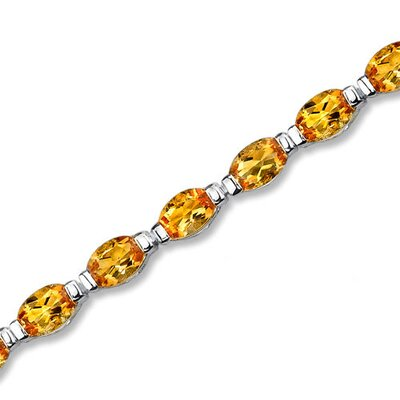 Sterling Silver 9.25 Carats Total Weight Oval Cut Citrine Tennis Style Bracelet