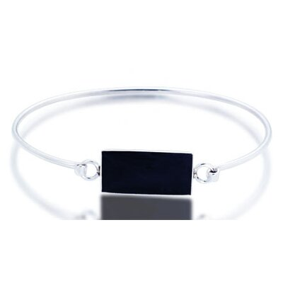 Black Onyx Bar ID Bangle Bracelet Sterling Silver