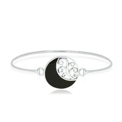 Black Onyx Moon Bangle Bracelet Sterling Silver