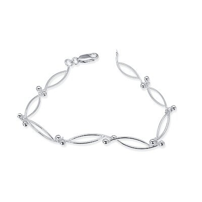 Oval Loop & Ball Link Bracelet Sterling Silver