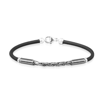 Young Adults Trendy Rubber and Silver Bracelet 6 1 2 inches