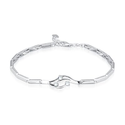Oravo Three Stone Round Cut White Cz  Bracelet Sterling Silver