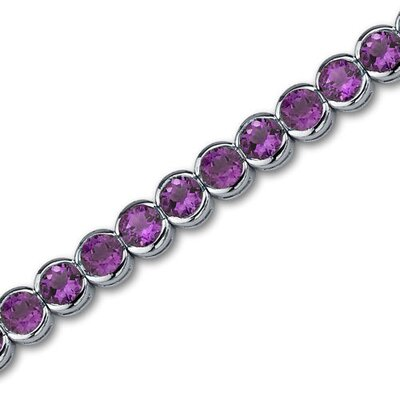 Must Have Awesome 16.00 Carats Round Cut Amethyst Gemstone Tennis Bracelet in Sterling Silver
