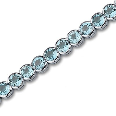 Oravo Must Have Elegant 19.00 Carats Round Cut Swiss Blue Topaz Gemstone Tennis Bracelet in Sterling Silver