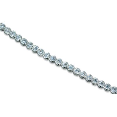 Oravo Must Have Sparkling Round Cut White CZ Gemstone Tennis Bracelet in Sterling Silver