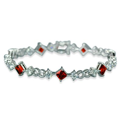 Oravo Unique Styling Princess and Round Cut Bracelet in Sterling Silver