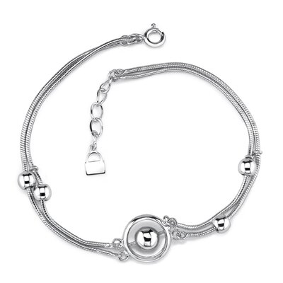 Elegant and Sophisticated Sterling Silver Designer Inspired Double Snake Chain Silver Bead Bracelet