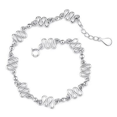 Modern Medley Sterling Silver Designer Inspired Fancy Link Silver Bead Bracelet