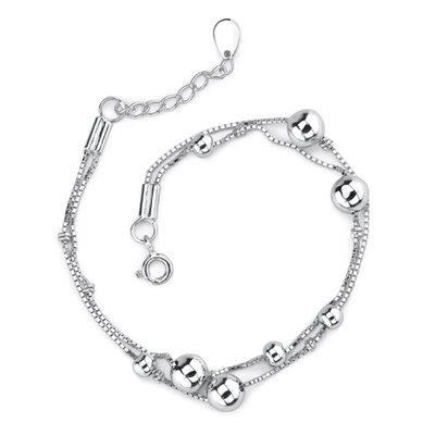 Trendy and Youthfu: Sterling Silver Designer Inspired Double Box Chain Bracelet with Silver Beads