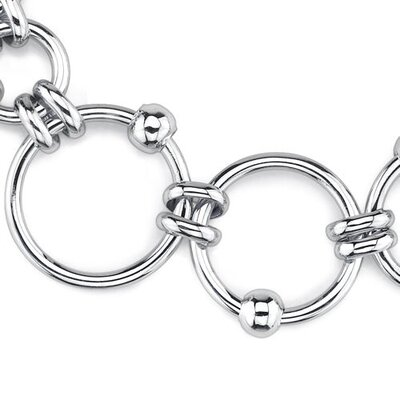 Oravo Trendy Elegance Sterling Silver Designer Inspired Open Circle Link Bracelet with Silver Beads