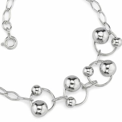 Oravo Rings of Beauty Sterling Silver Designer Inspired Oval Link Chain Bracelet with Silver Bead Rings