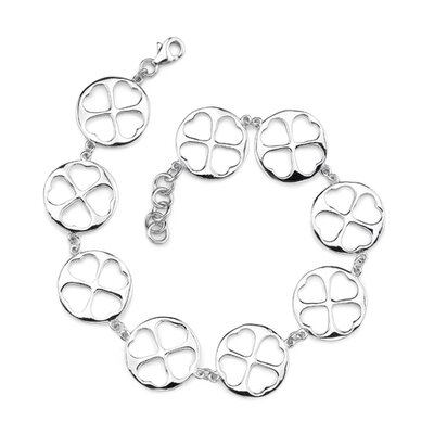 Bold and Lovely Sterling Silver Designer Inspired Coin link Bracelet with cut-out Hearts