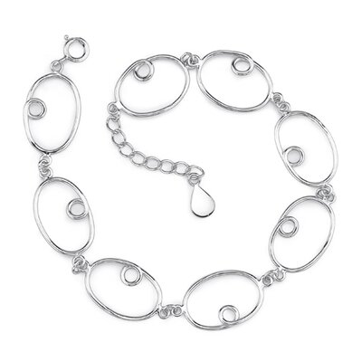 Cool Sophistication Sterling Silver Designer Inspired Large Oval Curl Link Chain Bracelet