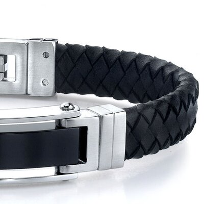 Oravo Flawless Style Stainless Steel ID-style Bracelet with Braided Leather Strap for Men