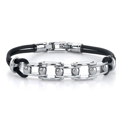 Youthful Fashion Stainless Steel Bicycle Chain-style Dual Rubber Cord Link Bracelet for Men