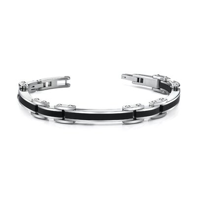 Stylish Mens Stainless Steel and Carbon Fiber Bracelet
