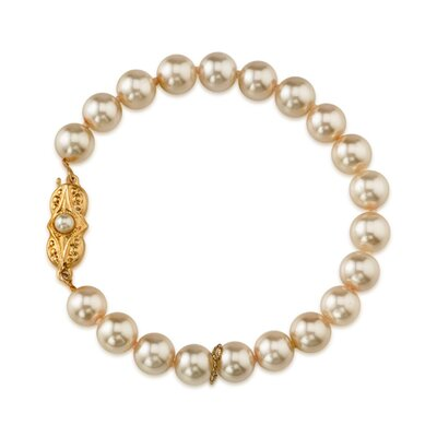 Oravo Single Strand 8mm Light Pink Color Round Majorca Cultured Pearl Bracelet