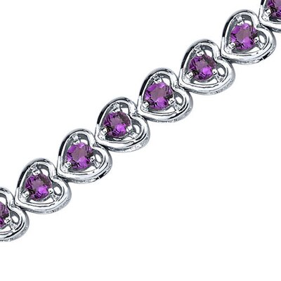 Dainty Hearts Round Shape Gemstone Bracelet in Sterling Silver