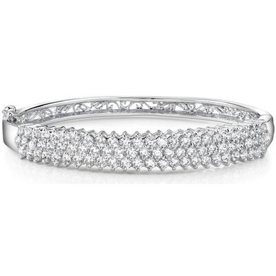 Captivating and Luxurious Sterling Silver Prong-Set Cubic Zirconia Hinged Bangle Bracelet