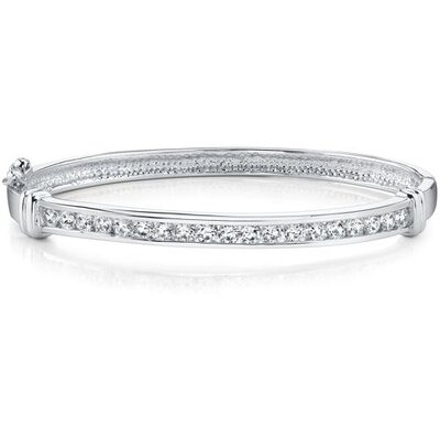 Forever Graceful Sterling Silver Channel Set Cubic Zirconia Hinged Bangle Bracelet