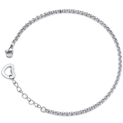Unique Style Womens Stainless Steel Belcher Small Link Bracelet with Heart Charm