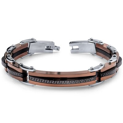 Mens Black Brown and Silver-Tone Stainless Steel Greek Key Link Bracelet