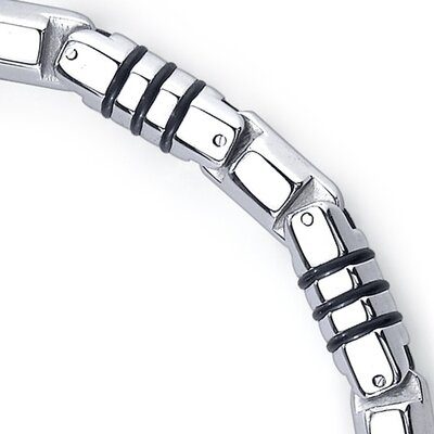 Oravo Rugged Elegance Stainless Steel and Rubber Fancy Link Bracelet for Men