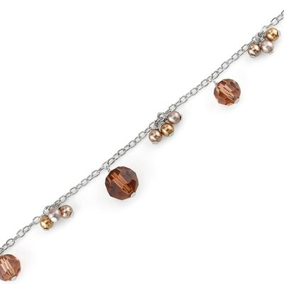 Chocolate Dream Sterling Silver Charm Bracelet with Swarovski Crystals and Cultured Pearls
