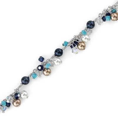 Beauty and the Beach Sterling Silver Charm Bracelet with Swarovski Crystals and Cultured Pearls