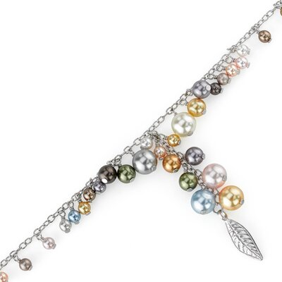 Spring Bouquet Sterling Silver Charm Bracelet with Swarovski Pearls Beads
