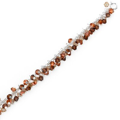 Oravo Amber Lights Sterling Silver Charm Bracelet with Swarovski Crystal Beads