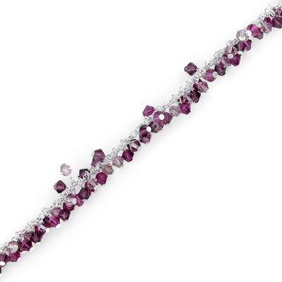 Fuchsia Fusion Sterling Silver Charm Bracelet with Swarovski Crystal Beads
