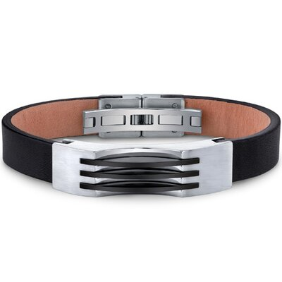 Oravo Mens Stainless Steel and Leather Bracelet with Triple Stripe Black Accents