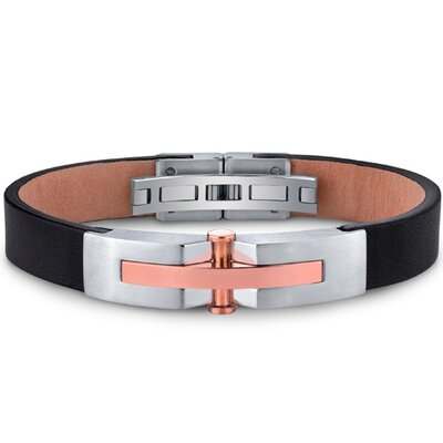 Mens Stainless Steel and Leather Bracelet with Rose Gold Rivet Accents