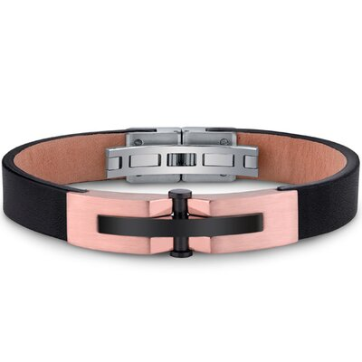 Oravo Mens Stainless Steel and Leather Bracelet with Rose Gold and Black Rivet Accents