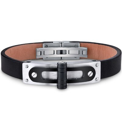 Mens Stainless Steel and Leather Bracelet with Black Hinge and Rivet Accents