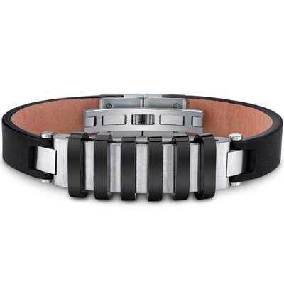 Oravo Mens Stainless Steel and Leather Bracelet with Raised Black Stripe Accents