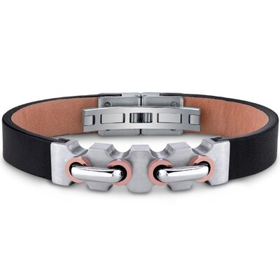 Mens Stainless Steel and Leather Bracelet with Raised Handlebar Motif and Rose Gold Accents