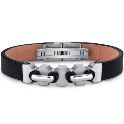 Mens Stainless Steel and Leather Bracelet with Industrial Handlebar and Black Accents