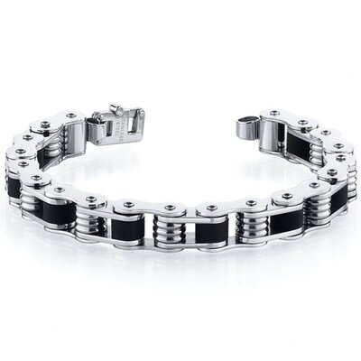 Fancy Clasp Stainless Steel Bike Chain Style Mens Bracelet