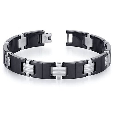 Classy Stainless Steel and Black Ceramic Mens Bracelet