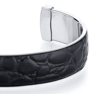 Oravo Black Leather Motif Steel Mens Cuff Bracelet