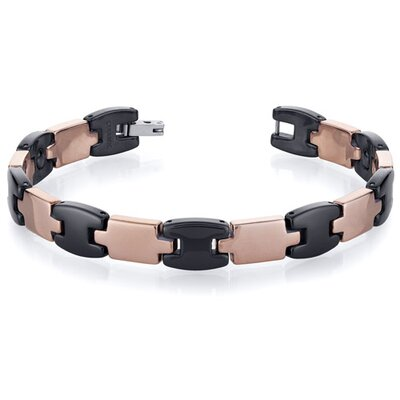 Sleek Mens Tungsten Ceramic Copper Tone Link Bracelet