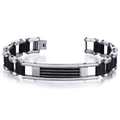 Mens Polished Finish Stainless Steel and Black Rubber link Cable Design Bracelet