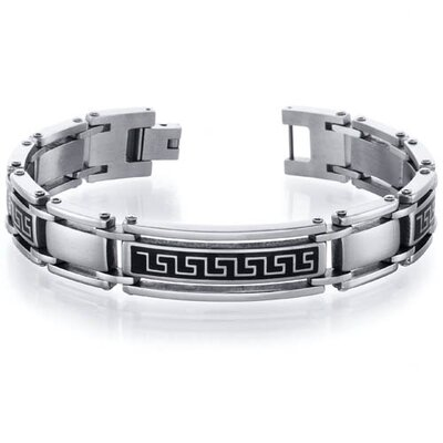 Classy Greek Key Stainless Steel Two Tone Link Mens Bracelet
