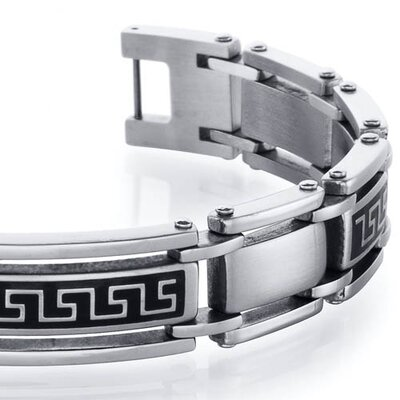 Oravo Classy Greek Key Stainless Steel Two Tone Link Mens Bracelet