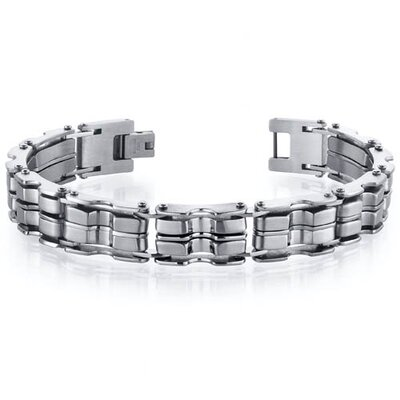 Distinguished Two Tone Stainless Steel Mens Link Bracelet