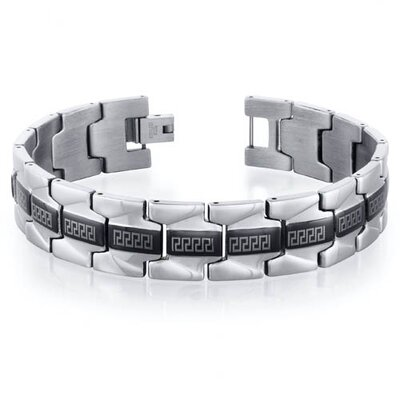 Mens Stainless Steel Greek Key Watch Style Link Bracelet