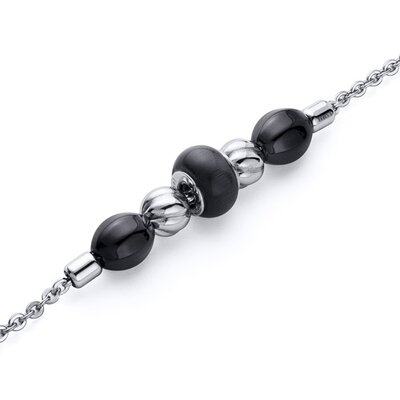 Black Roundel Bead Stainless Steel Chain Bracelet