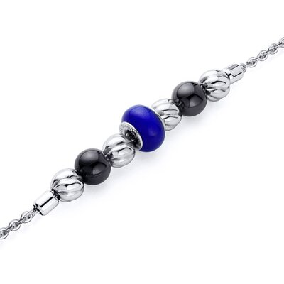 Royal Blue Roundel Bead Stainless Steel Chain Bracelet